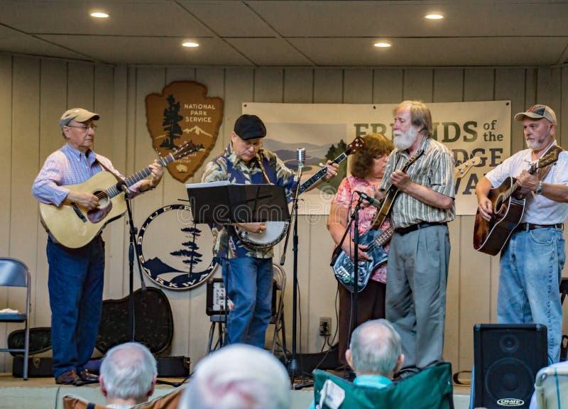 Virginia Carolina playing a Bluegrass Music - 2. Roanoke County, VA, August 18th, 2019: Virginia Carolina playing Bluegrass Music at the Roanoke Mountain Picnic stock photo