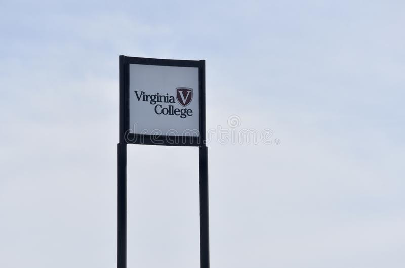 Virginia College Sign, Birmingham, Alabama. Virginia College was a private for-profit college, located primarily in the southeastern United States. Virginia royalty free stock photo
