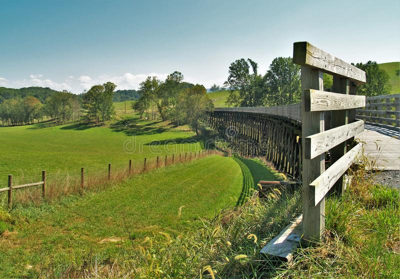 Virginia Creeper Trail. Holston Trestle is just one of 47 trestle bridges crossed by bike riders, hikers and horseback riders along the Virginia Creeper Trail stock photos