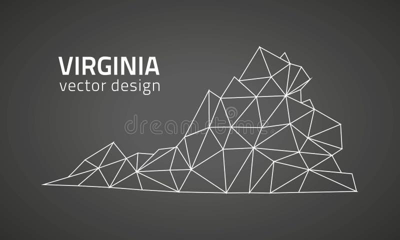 Virginia czerni wektorowego konturu trójboka poligonalna mapa ilustracja wektor