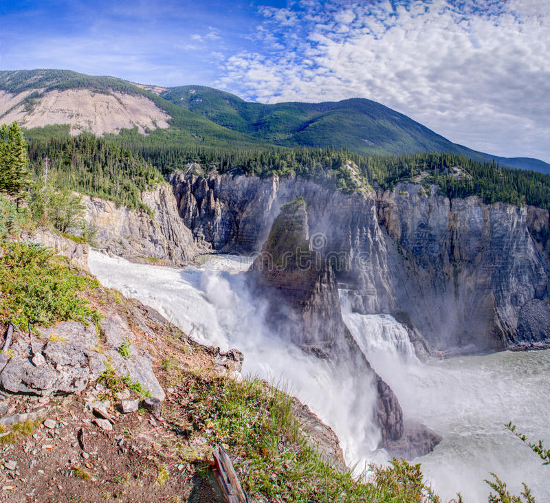Virginia Falls - South Nahanni river. 96 m drop of Virginia Falls - South Nahanni river, Northwest Territories, Canada stock images