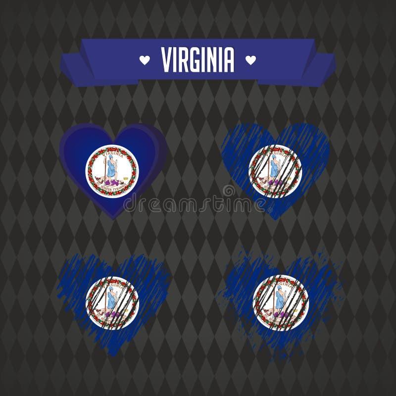 Virginia hjärta med flaggan inom Grafiska symboler för Grungevektor stock illustrationer