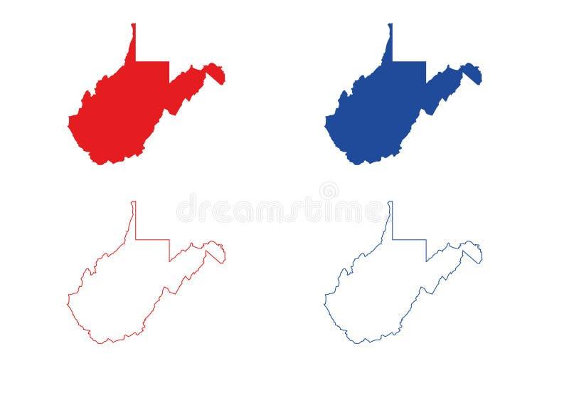 Virginia Map ocidental ilustração stock