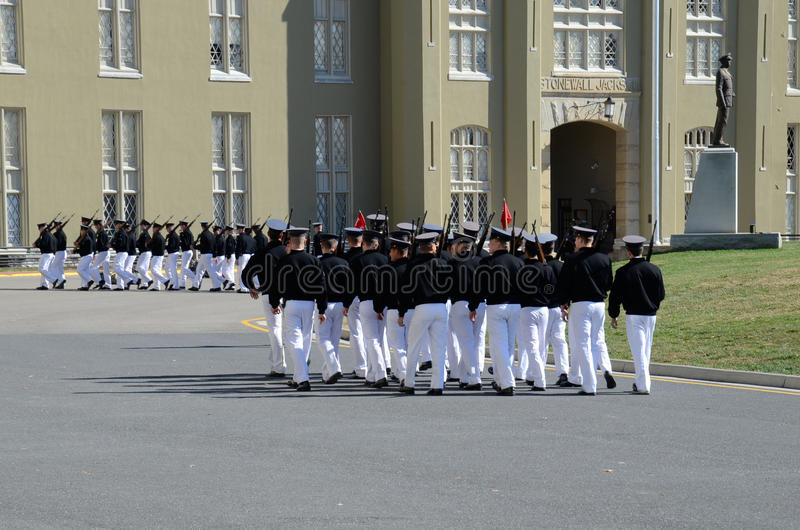 Cadets of Virginia Military Institute marching stock images