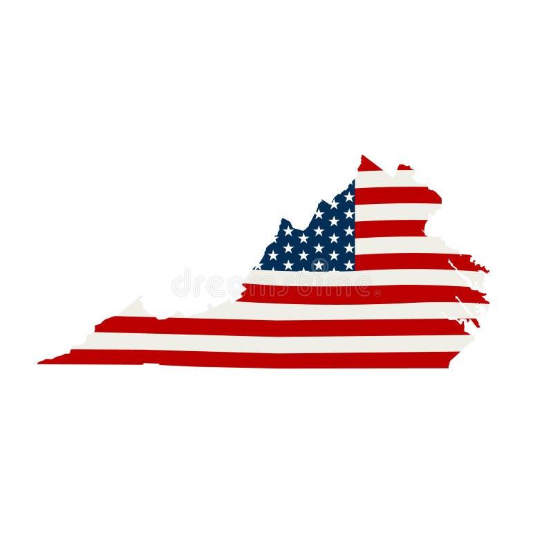 Virginia patriotyczna mapa Wektorowa graficznego projekta ilustracja ilustracja wektor