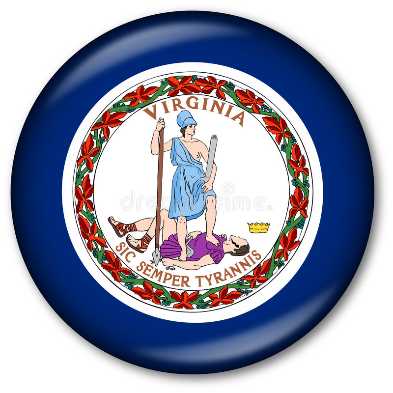 Virginia State Flag Button vector illustration