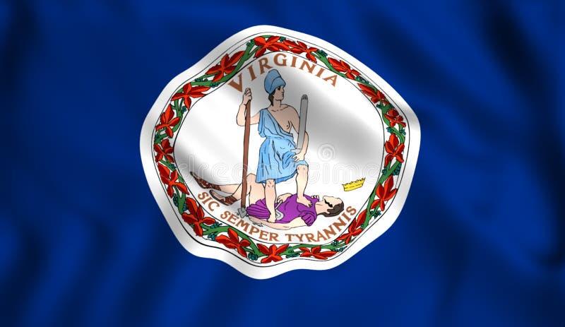 Virginia tillståndsflagga USA i vinden royaltyfri illustrationer
