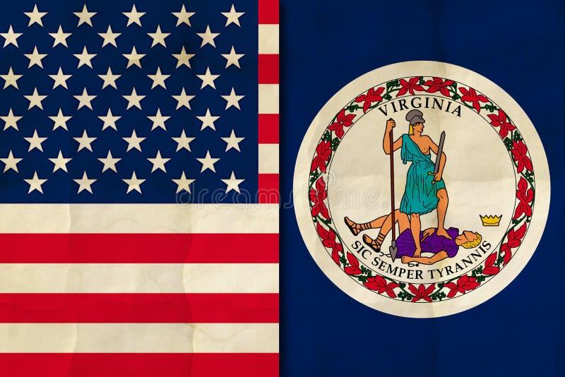 Virginia- und US-Flagge vektor abbildung