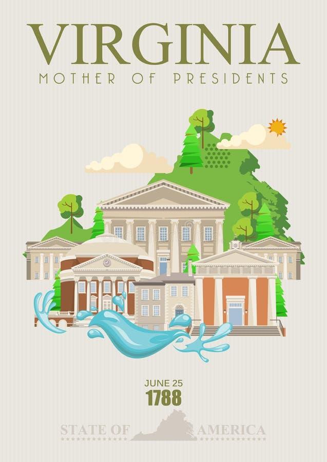 Virginia wektorowy amerykański plakat Matka prezydent ilustracji