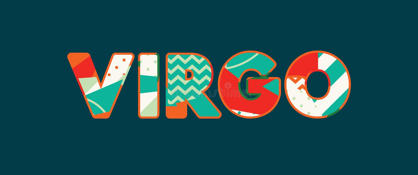 Virgo Concept Word Art Illustration. The word VIRGO concept written in colorful abstract typography. Vector EPS 10 available stock illustration