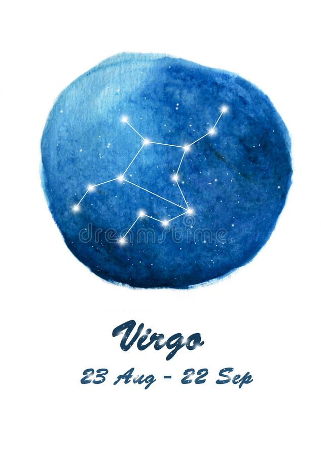 Virgo constellation icon of zodiac sign Virgo in cosmic stars space. Blue starry night sky inside circle background. royalty free illustration