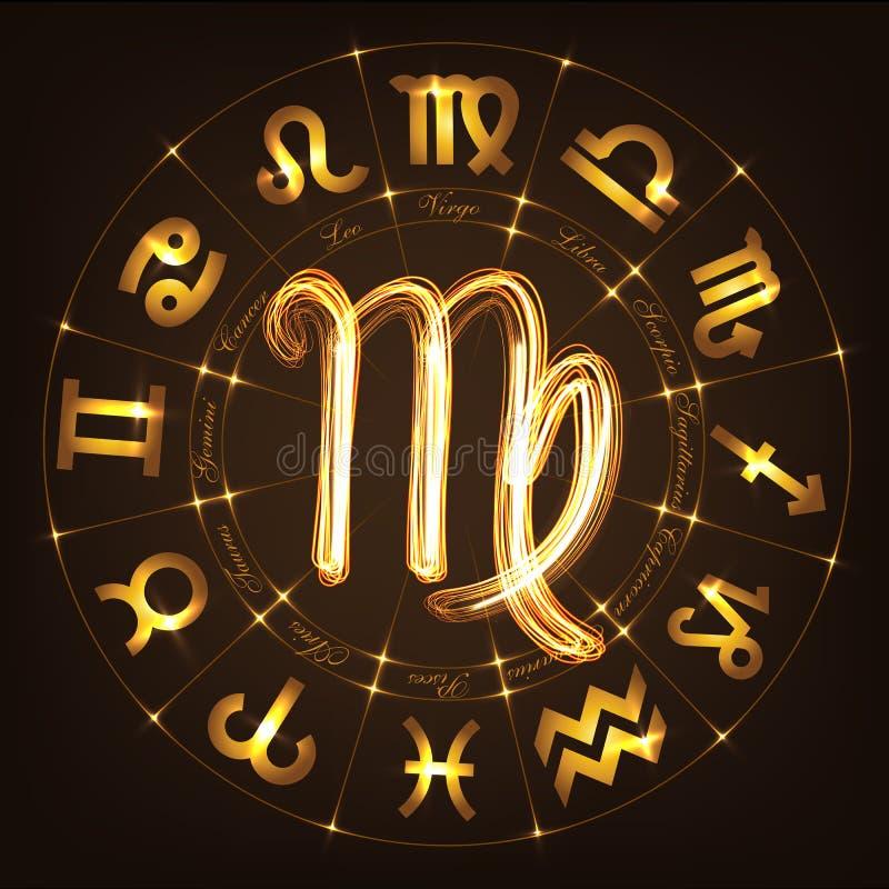 Virgo de la muestra del zodiaco ilustración del vector