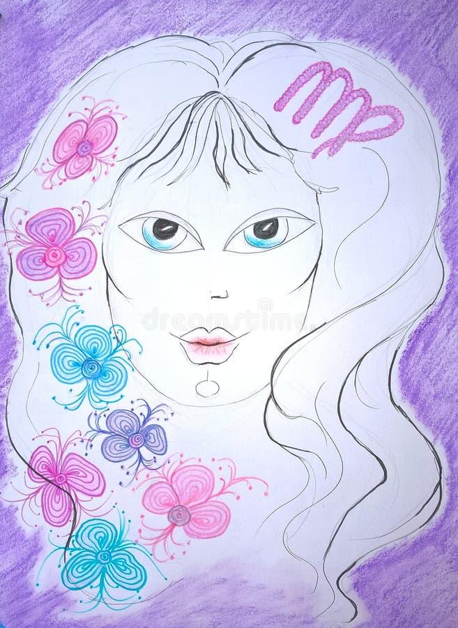 Virgo de la muestra del zodiaco Pintura original libre illustration