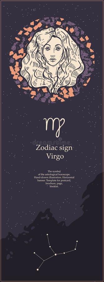 Virgo do sinal do zod?aco O símbolo do horóscopo astrológico Face das mulheres Hand-drawn de illustration Bandeira vertical Molde ilustração stock