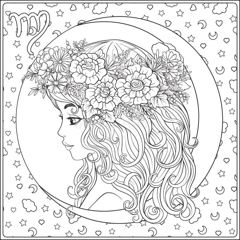 virgo En ung härlig flicka i form av ett av tecknet royaltyfri illustrationer