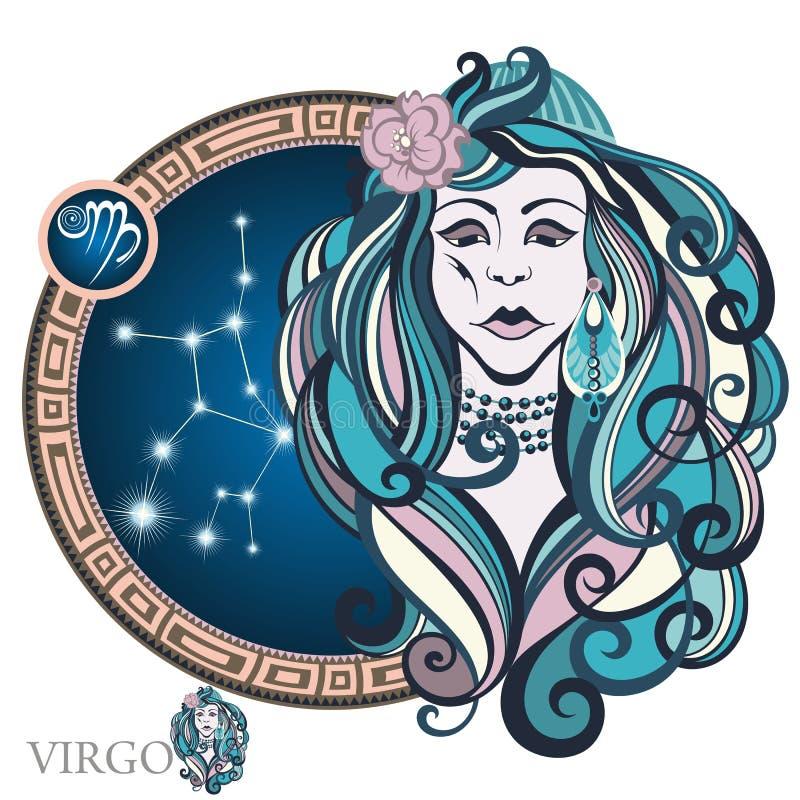 virgo grafika projekta znaka symboli/lów dwanaście różnorodny zodiak royalty ilustracja