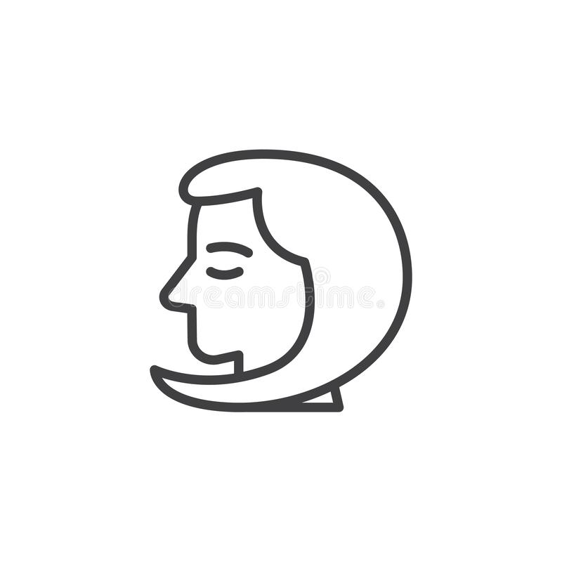 Virgo head outline icon. Linear style sign for mobile concept and web design. Girl head line vector icon. Symbol, logo illustration. Pixel perfect vector royalty free illustration