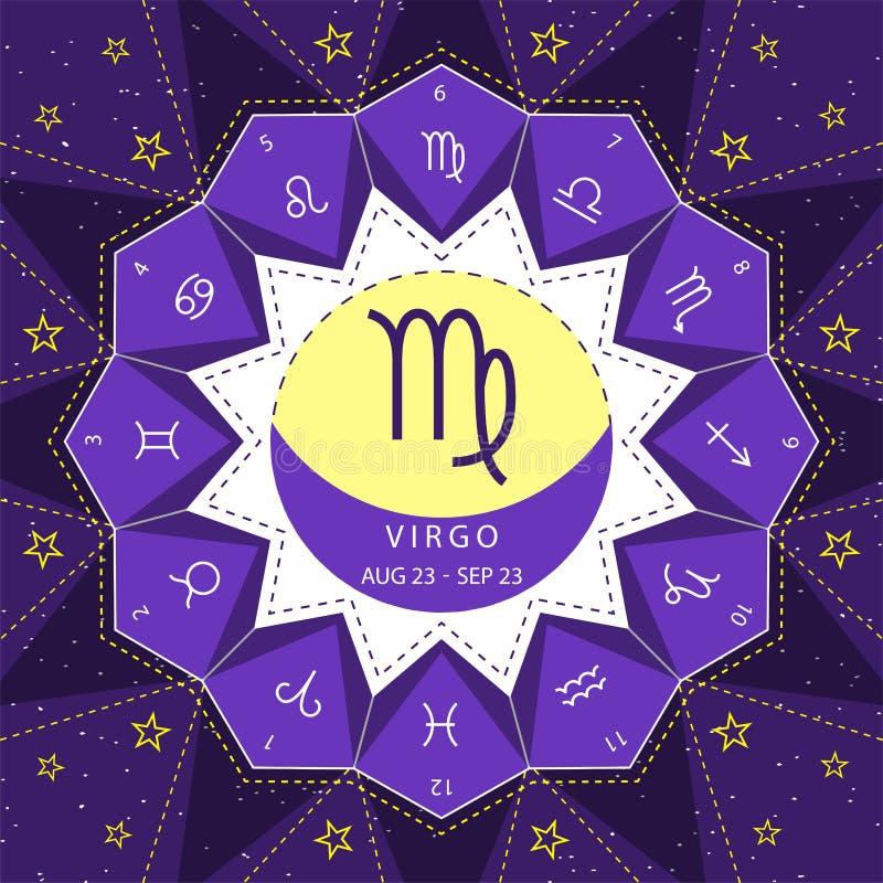 virgo I segni dello zodiaco descrivono il vettore di stile fissato sul fondo del cielo della stella illustrazione di stock