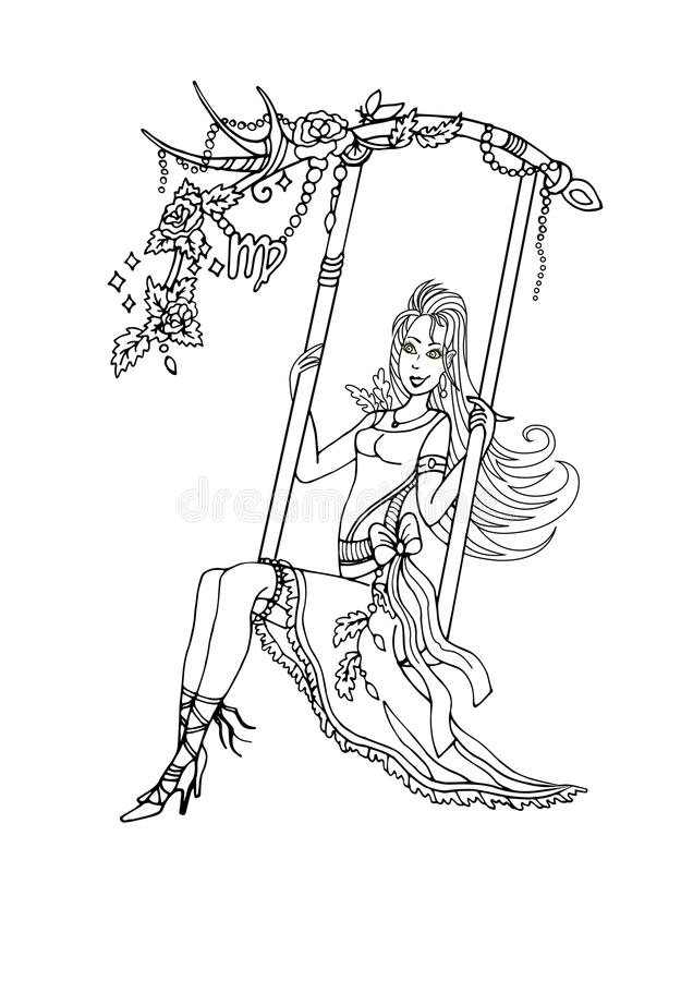 The Virgo on a swing and contagious laugh stock photo