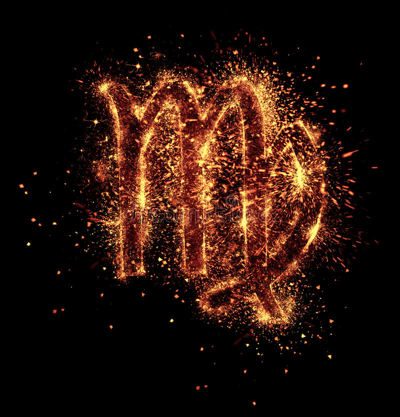 Virgo symbol. Spark is isolated on black background stock photography