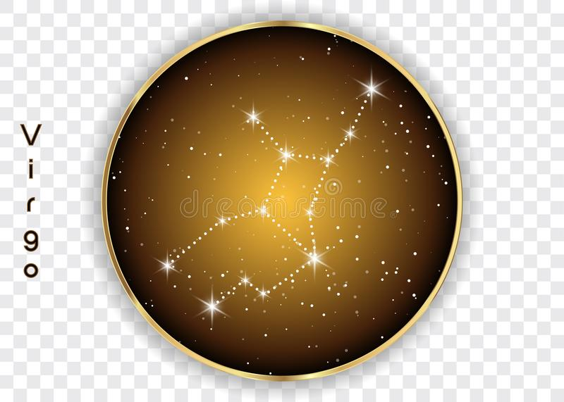 Virgo zodiac constellations sign on beautiful starry sky with galaxy and space behind. Virgin horoscope symbol constellation on de royalty free illustration