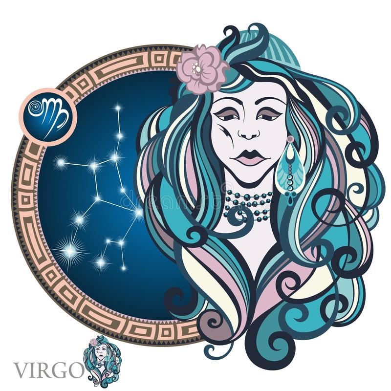 Virgo. Zodiac sign. Circle with stylized Zodiac sign Virgo as a woman royalty free illustration