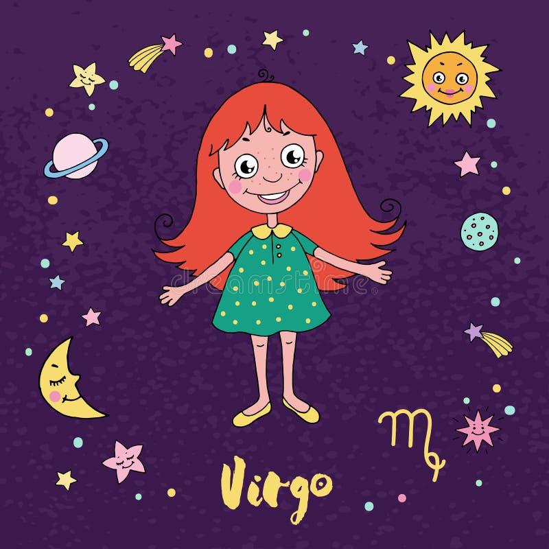 Virgo Zodiac Sign On Night Sky Background Stock Vector