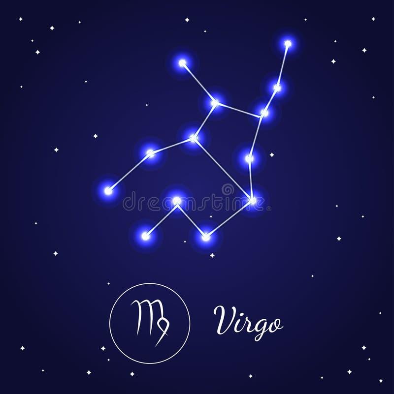 virgo zodiac sign stars on the cosmic sky vector stock