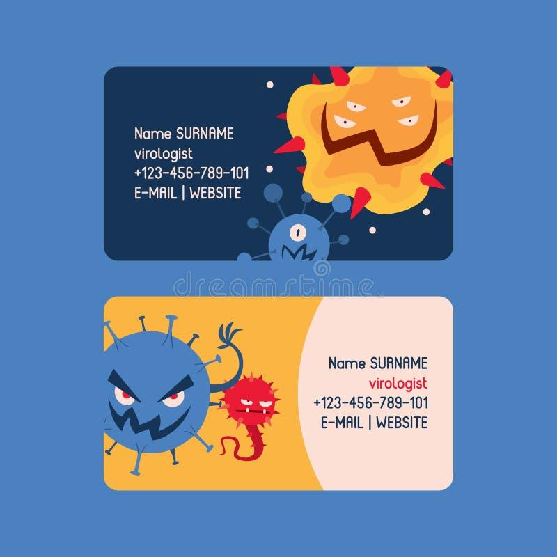 Viroloogreeks van adreskaartjes vectorillustratie Microben of inzameling van beeldverhaalvirussen Slechte micro-organismen voor royalty-vrije illustratie