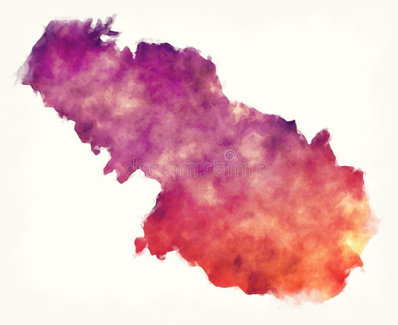 Virovitica-Podravina county watercolor map of Croatia. Illustration vector illustration