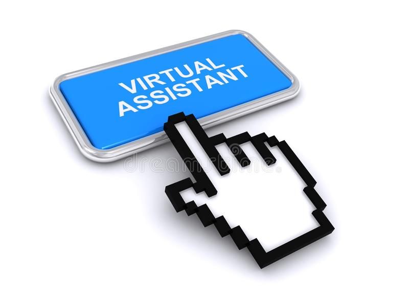 Virtual assistant button on white royalty free illustration