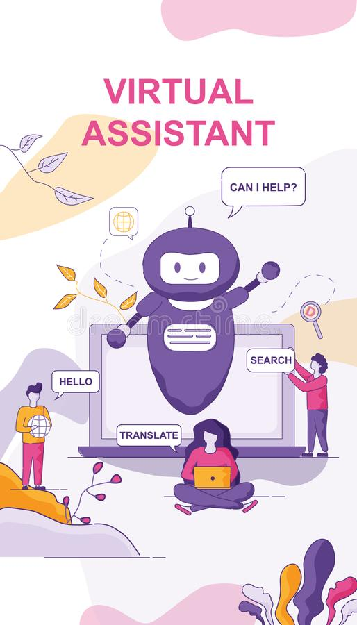 Virtual Assistant Chat Bot for Personal Computer vector illustration