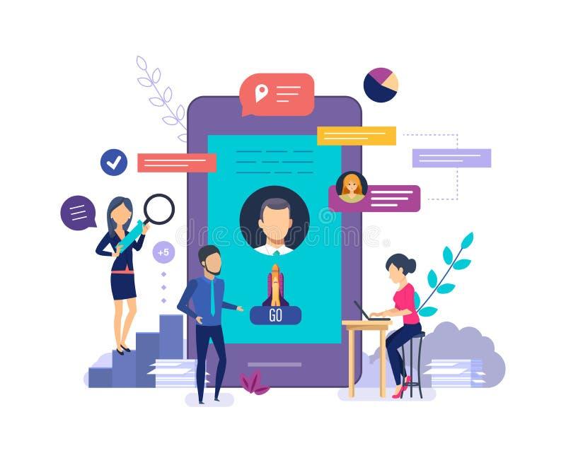 Virtual assistant help service. Online mobile assistant, virtual help service. royalty free illustration