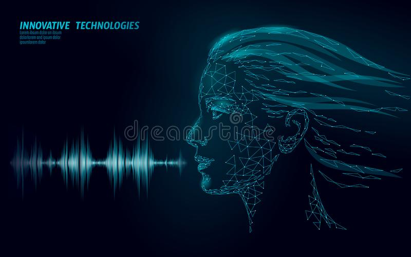 Virtual assistant voice recognition service technology. AI artificial intelligence robot support. Chatbot beautiful stock illustration