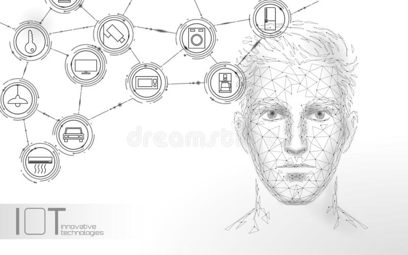 Virtual assistant voice recognition service technology. AI artificial intelligence robot support. Chatbot male man face royalty free illustration
