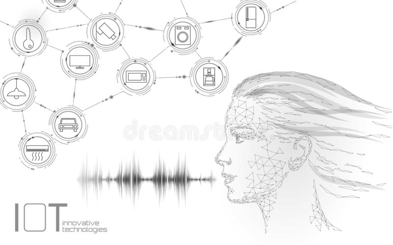 Virtual assistant voice recognition service technology. AI artificial intelligence robot support. Chatbot young girl royalty free illustration