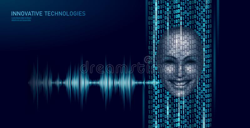 Virtual assistant voice recognition service technology business concept. AI artificial intelligence robot help work. Support. Chatbot futuristic binary code royalty free illustration