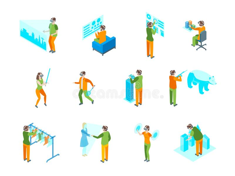 Virtual Augmented People 3d Icons Set Isometric View. Vector stock illustration