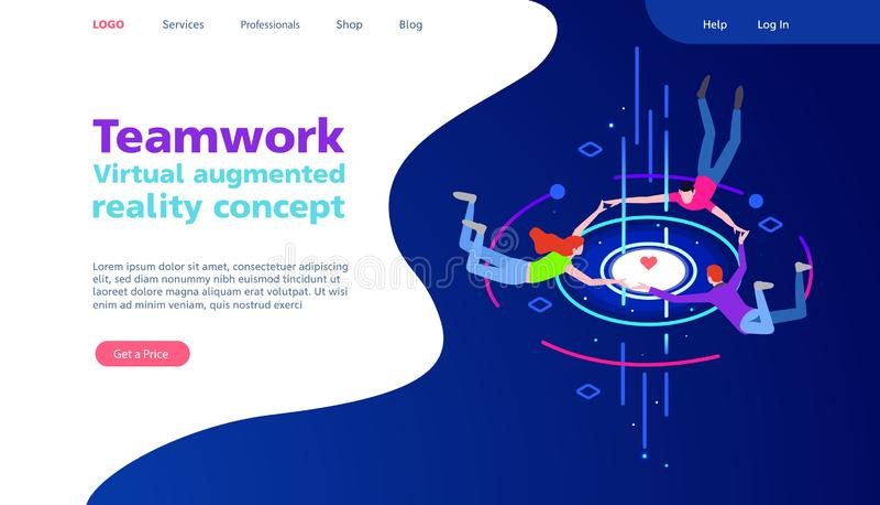 Virtual augmented reality concept. Teamwork. Social Media Concept for web site. Communication via the Internet, social royalty free stock photos