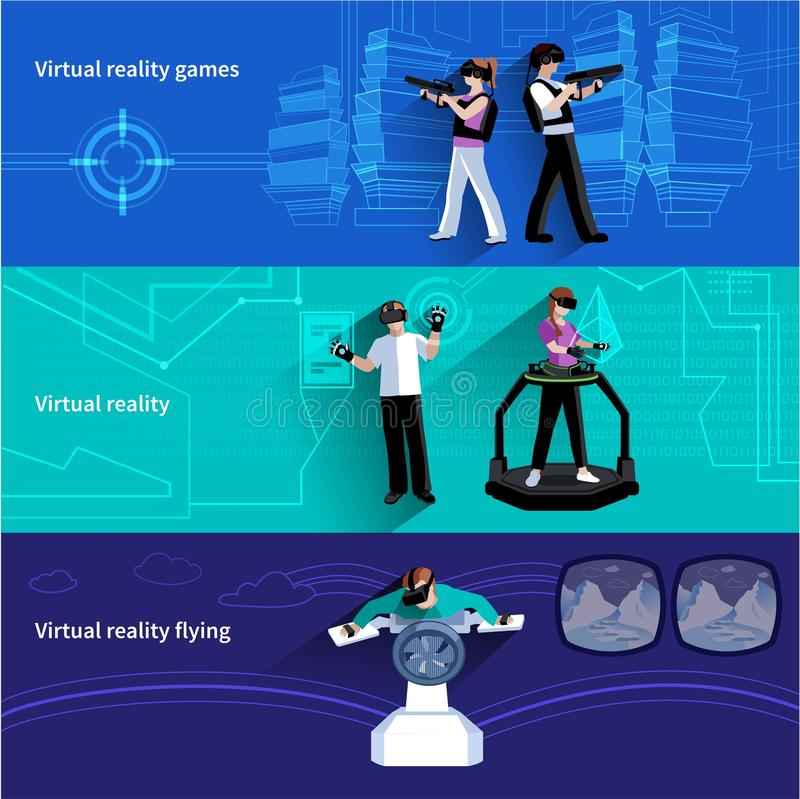 Virtual Augmented Reality Flat Banners Set vector illustration