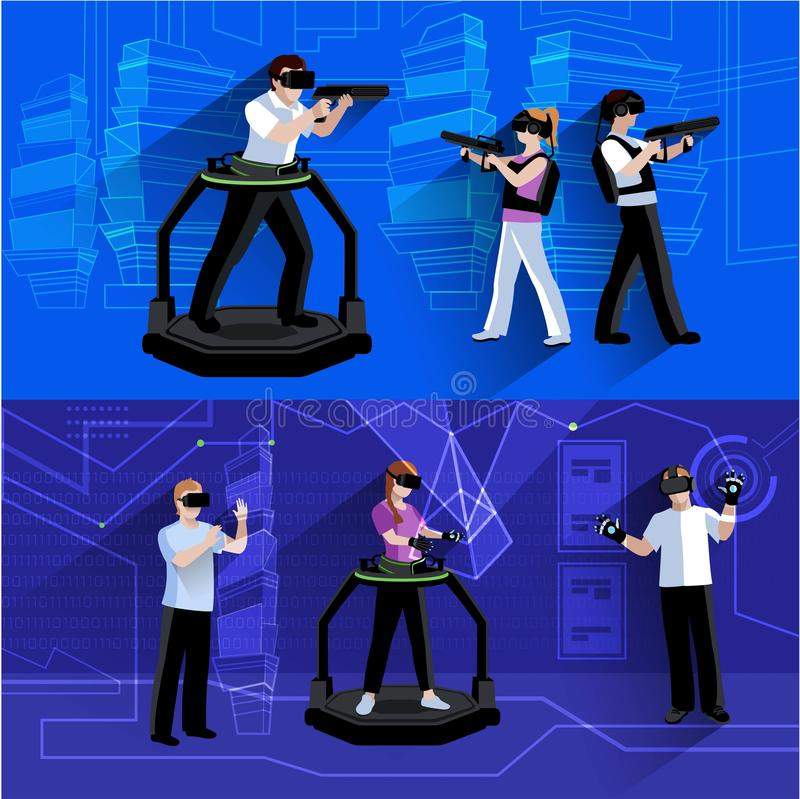 Virtual Augmented Reality Flat Banners Set royalty free illustration