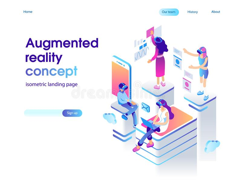 Virtual augmented reality glasses concept with people learning and entertaining. Landing page template. 3d vector. Virtual augmented reality glasses concept with stock illustration