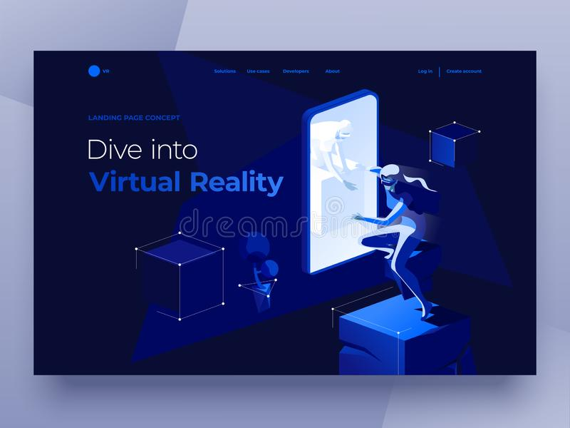 Virtual augmented reality glasses concept with people playing a game and entertaining on the dark blue abstract background. Virtual augmented reality concept royalty free illustration