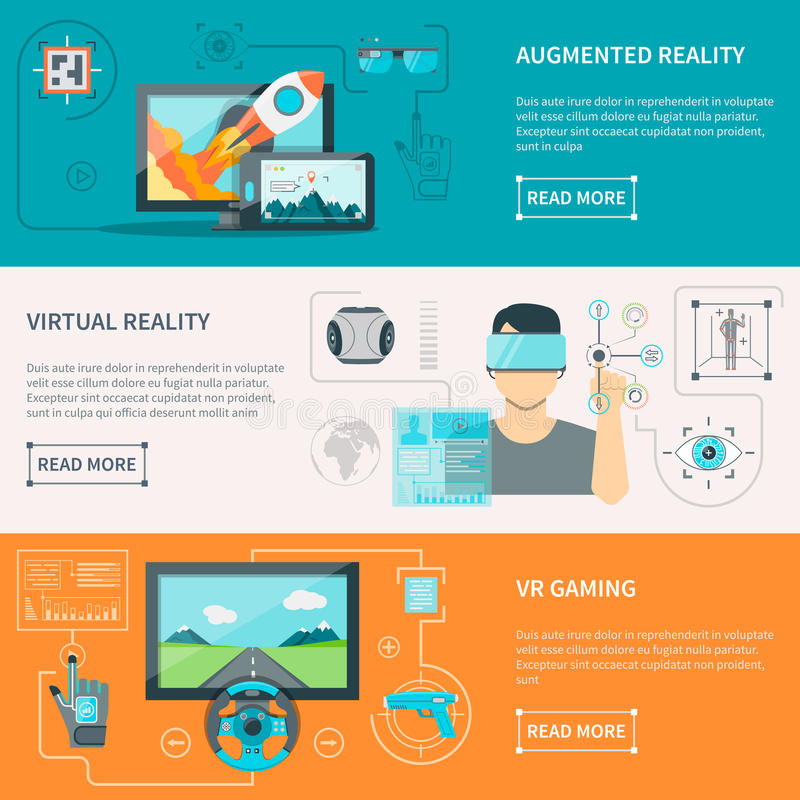 Virtual Augmented Reality Horizontal Banners royalty free illustration