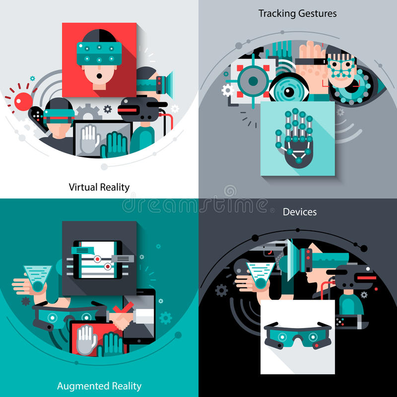 Virtual Augmented Reality Set. Virtual augmented reality design concept set with tracking gestures devices flat icons isolated vector illustration vector illustration