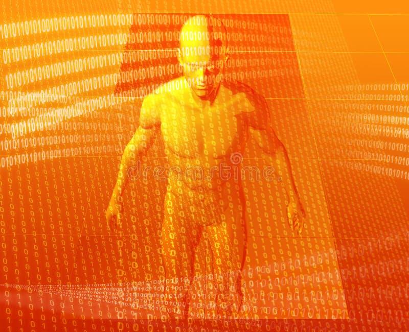 Virtual avatar. Virual avatar body surrounded by digital information vector illustration