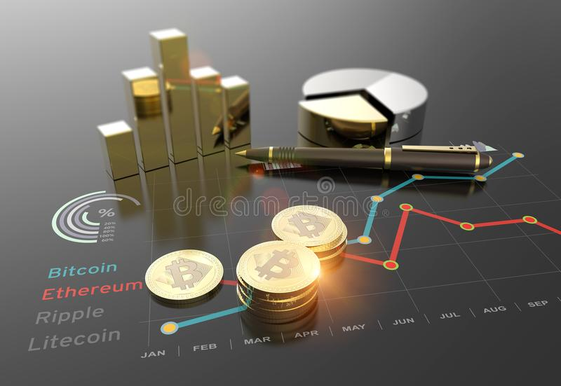 Virtual Bitcoin cryptocurrency financial market graph royalty free illustration