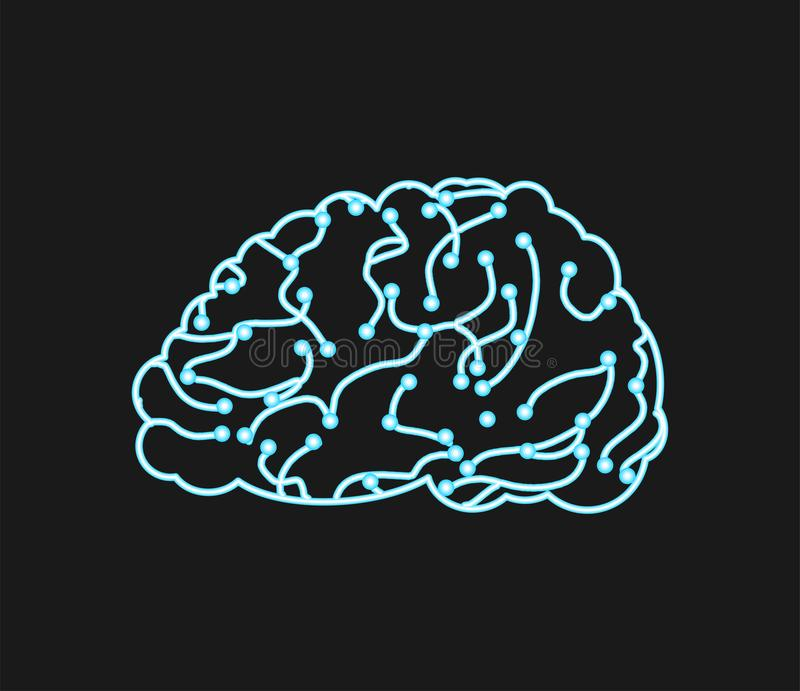 Virtual brain. Neurons and neural networks. digital thought tran royalty free illustration