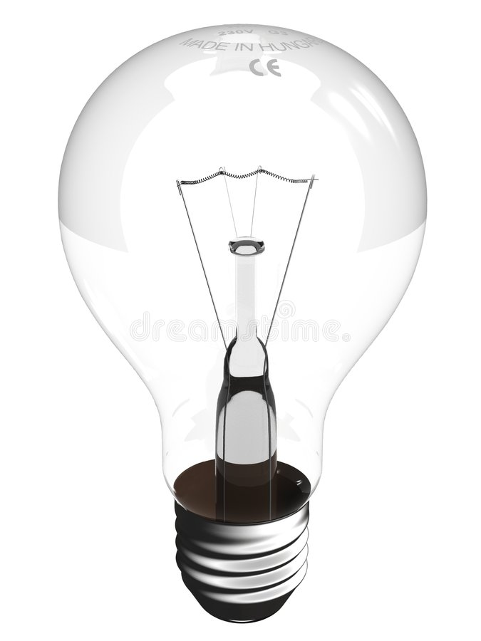 A virtual bulb. A detailed, transparent virtual bulb (3d render