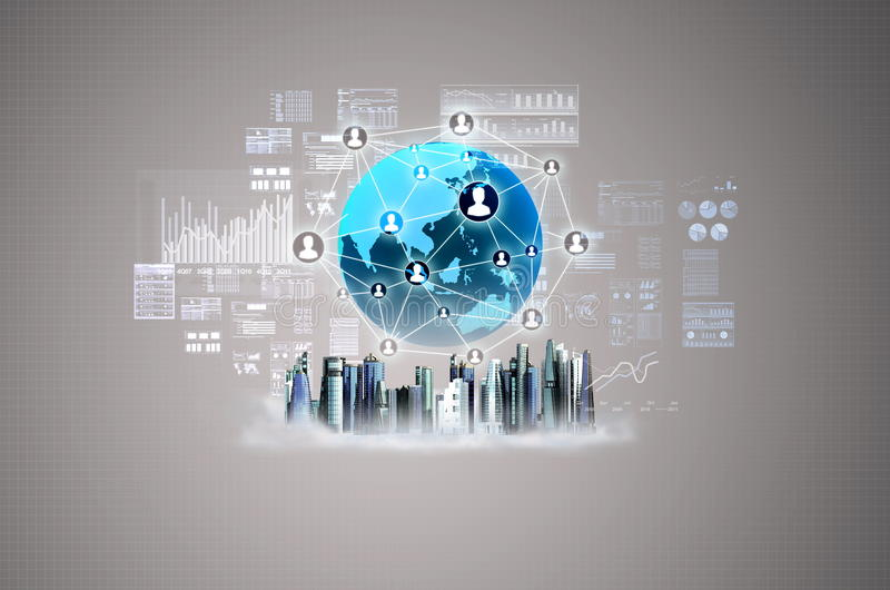 Virtual Business City royalty free stock images